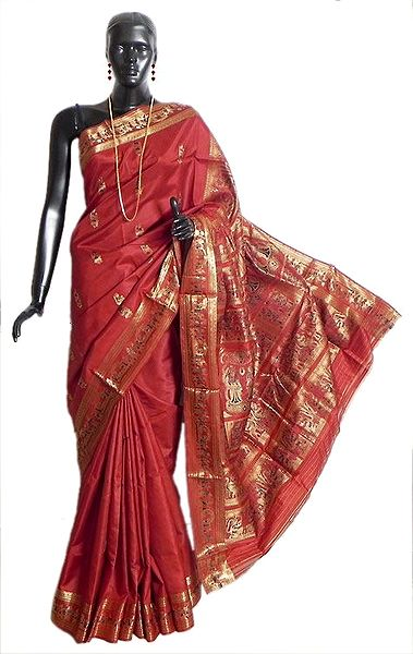 Brick Red Swarnachari Silk Saree with All-Over Zari Boota, Border and Gorgeous Pallu