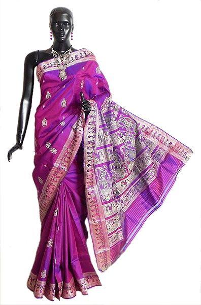 Purple with Magenta Mix Baluchari Silk Saree with All-Over Boota, Border and Gorgeous Pallu