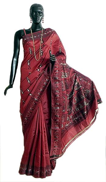 Wine Red Baluachari Silk Saree with All-Over Boota and Woven Mahabharata Scene on the Pallu and Border