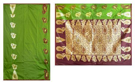 Green Banarasi Ghicha Silk Saree with Zari Design