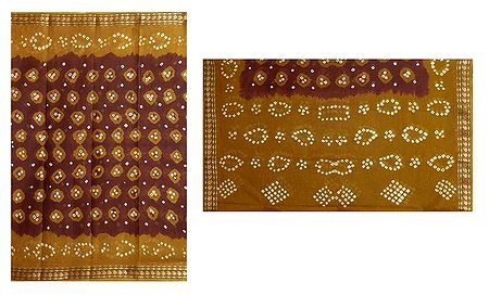 Brown Cotton Bandhni Saree with Yellow Border and Pallu