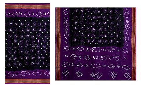 Black Cotton Bandhni Saree with Purple Border and Pallu from Rajasthan