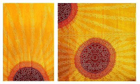 Bandhni Print on Yellow Synthetic Saree