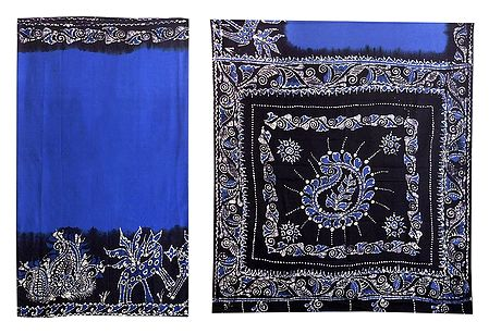 Blue with Black Batik Print Cotton Saree