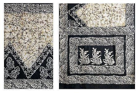 Black and White Batik Print Cotton Silk Saree