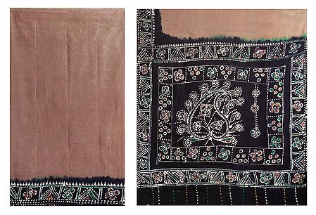 Brown with Black Batik Print Cotton Saree