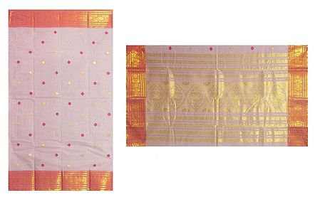 All-Over Red and Yellow Boota on Carnation Pink Tant Saree with Zari Border and Pallu