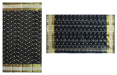 Black Bengal Cotton Tant Saree with Embroidered Boota and Zari Border