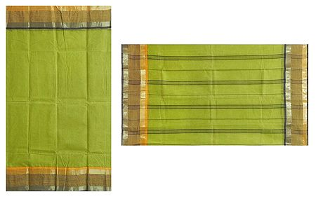 Olive Green Bengal Tant Saree with Yellow and Black Stripe Border