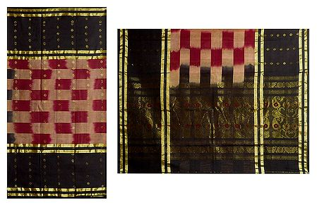 Maroon with Black  Bengal Hanloom Saree