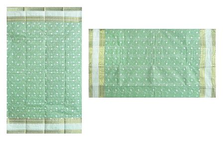 Green Cotton Bengal Cotton Tant Saree with Embroidered Boota and Zari Border