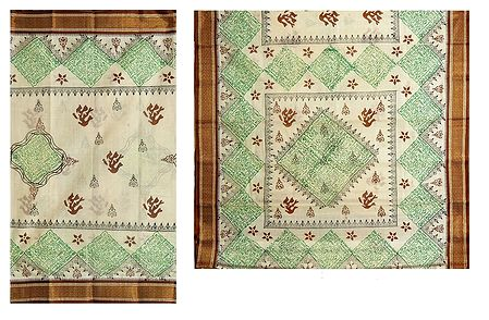 Ivory Bengal Cotton Saree with Green and Brown Print