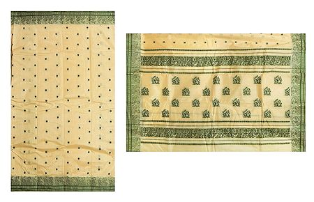 All-Over Green Boota on Light Yellow Tussar Tangail Saree with Border and Pallu