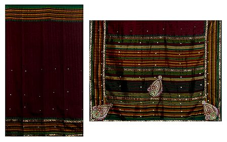 Maroon Bhagalpuri Saree with Embroidery