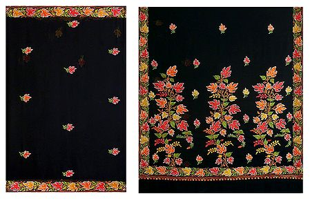Black Faux Chiffon Saree with Multicolor Ari Embroidery