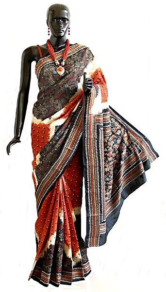 Black with Rust Silk Saree with Kantha Stitch Embroidery All-Over