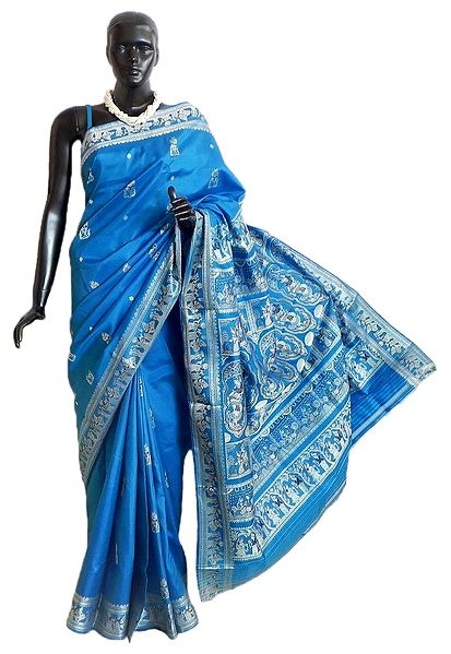 Cyan Blue Baluchari Silk Saree with All-Over Boota and Woven Wedding Scene on the Pallu and Border