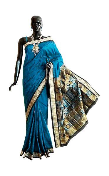 Dark Cyan Orissa Bomkai Pure Silk Saree with All-Over Boota and Gorgeous Pallu