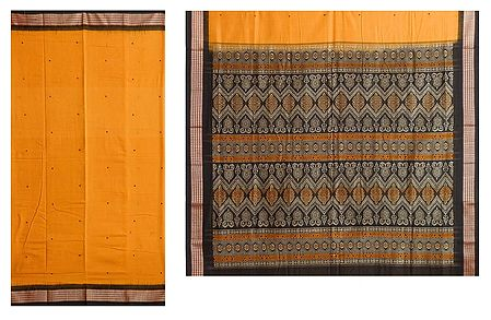 Yellow Bomkai Cotton Saree with Black Border
