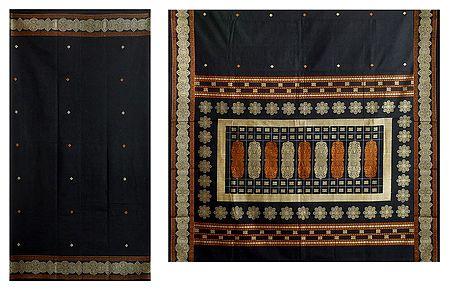 Black Cotton Bomkai Saree with Gorgeous Border and Pallu