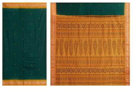 Dark Green Cotton Bomkai Saree with Gorgeous Yellow Border and Pallu
