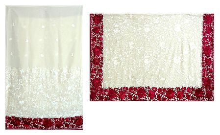Parsi Embroidered Ivory Georgette Brasso Saree with Red Border and Pallu