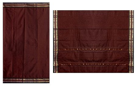 Dark Brown Solapuri Cotton Sari with Border