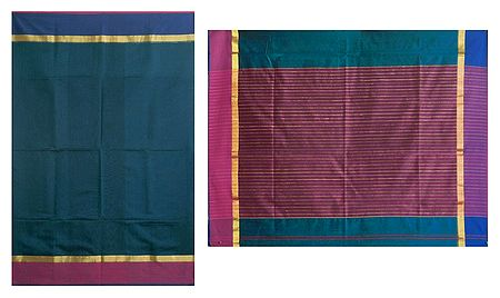 Blue Chanderi Saree with Striped Pallu