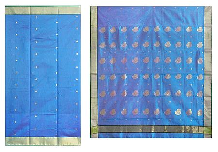 All-Over Golden Zari Boota on Blue Chanderi Saree with Zari Border and Pallu