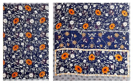 Floral Print on Dark Blue Synthetic Saree