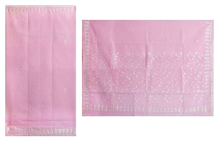 Embroidered Pink Chiffon Saree