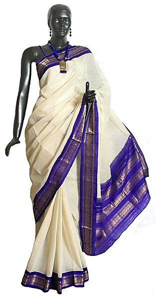 White Cotton Gadwal Saree with Purple and Golden Zari Border and Pallu