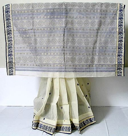Cotton Saree - Bengal Tangail with Baluchari Design