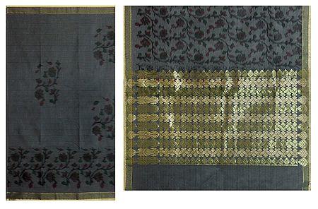 Grey Cotton Silk Sari with Zari Pallu