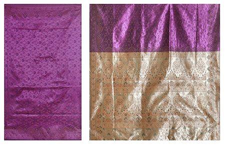 Dark Magenta Ghicha Silk Sari with Beige Pallu