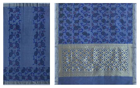 Paisley Design on South Cotton Silk Saree  with Zari Pallu