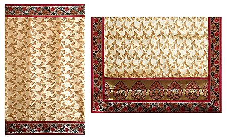 Beige Cotton Silk Saree with Red, Green and Golden Border