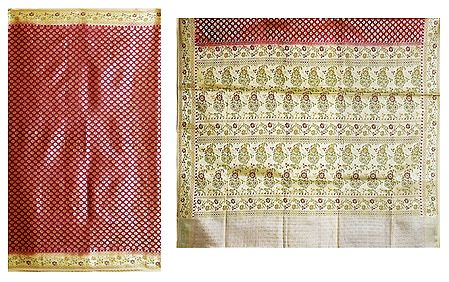 Red with Golden Cotton Silk Saree with Border and Pallu