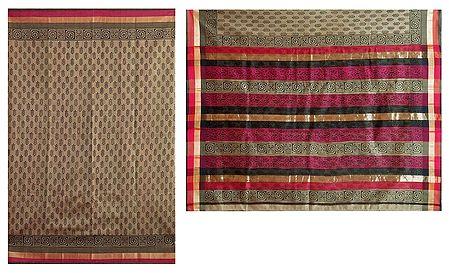 Bagh Print on Dark Khaki Chanderi Saree with Red, Black and Zari Border with Pallu