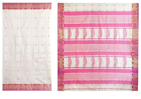 All-Over Pink Boota on Ivory Maheshwari Saree from Madhya Pradesh
