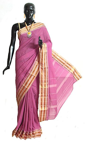 Dark Magenta Mangalagiri Saree with Fine White Checks