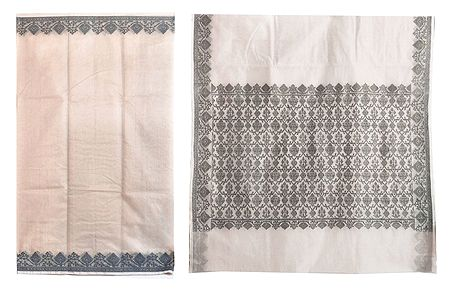 Off-White Polyester Cotton Saree with Black Weaved Border
