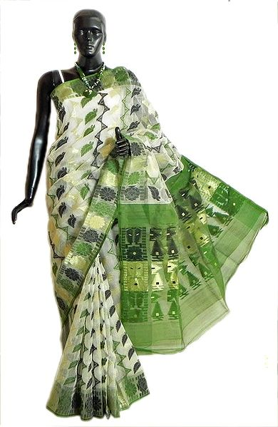 Weaved Black,Green and Golden Design All-Over on White Dhakai Saree with Border and Pallu