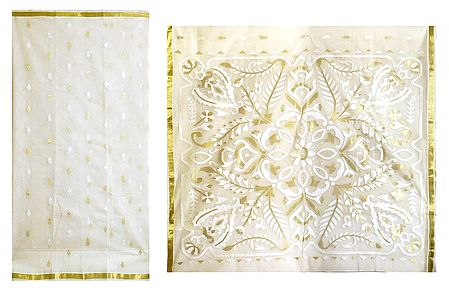 Ivory with Golden Dhakai Jamdani Saree with Border and Pallu