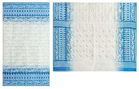 White Dhakai Jamdani Saree with Border and Pallu
