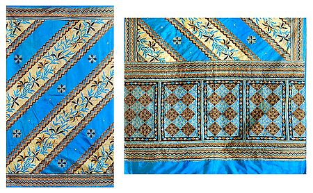 Emroidery on Printed Dupion Silk Saree
