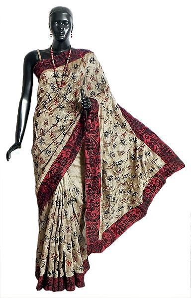 Light Beige Tussar Silk Saree with Maroon Border and Pallu with Tribal Embroidery All-Over