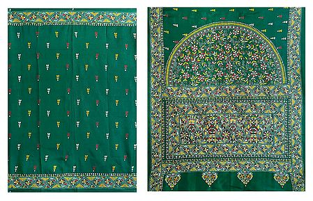 Kantha Stitch on Cyan Green Pure Silk Saree with Gorgeous Border and Pallu