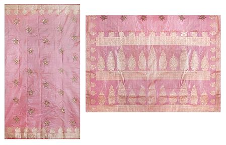 Light Pink Tussar Saree with Beige Border and Pallu