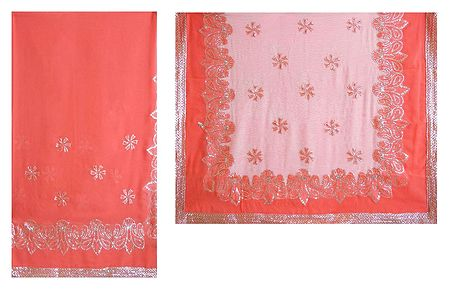Rose Pink with White Georgette Saree with Sequined Border and Pallu